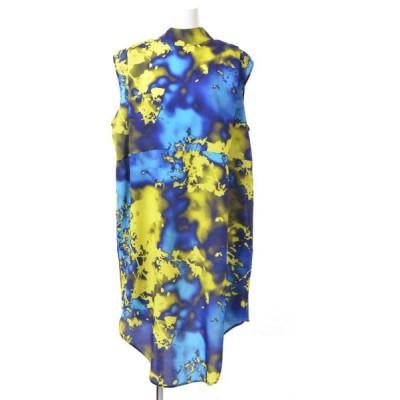 MSGM バックリボン タイダイ プリント ドレス 40 ブルー エムエスジーエム