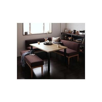 足を伸ばしてゆったりくつろげるダイニング4点セット 天然木 L字ソファ 【テーブル1+ソファ2+ベンチ1】 (?