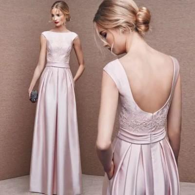 イブニングドレス 安い 可愛い パーティードレス Aライン ロングドレス 花嫁 結婚式 披露宴 ウエディングドレス フェミニン