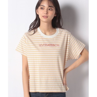 (LEVI'S OUTLET/リーバイスアウトレット)GRAPHIC VARSITY TEE PEARL TOFU STRIPE/レディース イエロー系