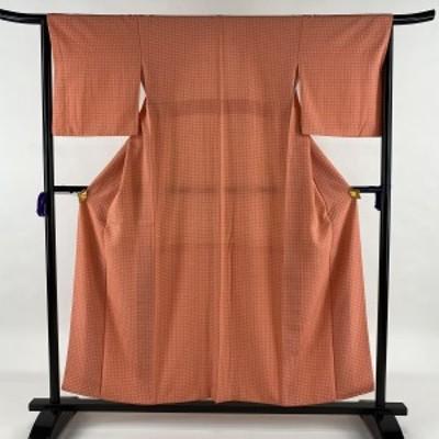 小紋 美品 優品 やまと謹製 小花 サーモンピンク 袷 153cm 64.5cm M 正絹 中古