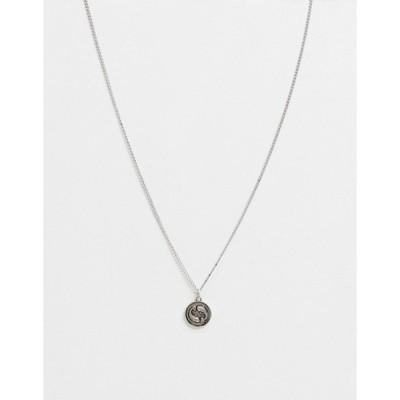 アイコンブランド メンズ ネックレス・チョーカー アクセサリー Icon Brand neckchain in silver with circular fish pendant