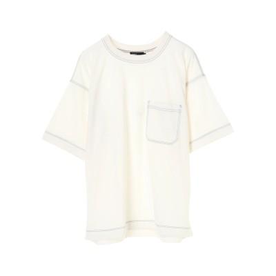 カラーステッチ半袖ポケットTEE