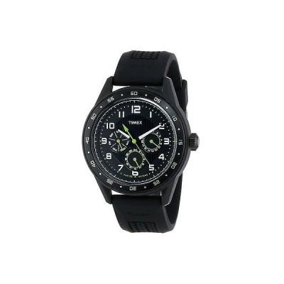 海外セレクション New TIMEX T2P044 マルチファンクション メンズ ブラック プラスチック 腕時計 ラバー ストラップ