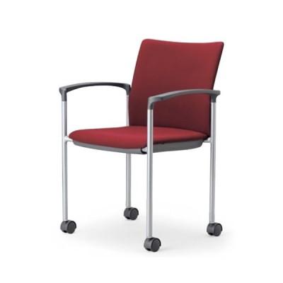 アイコ ミーティングチェア 椅子 会議チェア 肘付き キャスター脚 紛体塗装 角背タイプ MC-883