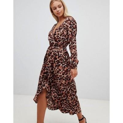 インフルエンス レディース ワンピース トップス Influence leopard print wrap midi dress with ruffle