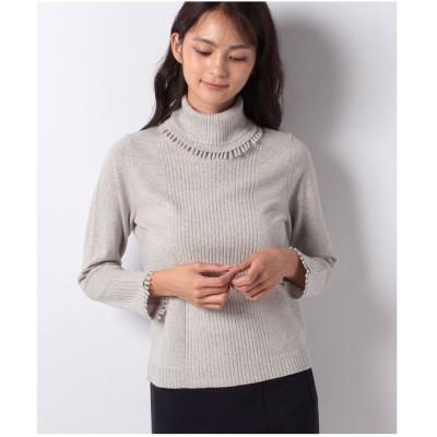 レリアンプラスハウス フリンジ付きセーター(ライトグレー)【返品不可商品】