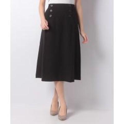 MELROSE Claire(メルローズ クレール)TRツイルピーチストレッチフロントボタンスカート