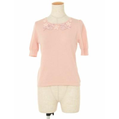 エムズグレイシー ニット セーター フラワーモチーフ リボン 刺繍 半袖 38