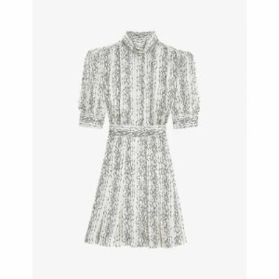 サンドロ SANDRO レディース ワンピース ミニ丈 ワンピース・ドレス Shirel graphic-print crepe mini dress ECRU BLACK