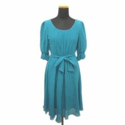 【中古】ストロベリーフィールズ STRAWBERRY-FIELDS パールビジュー ドレス ワンピース タック 2 青緑系