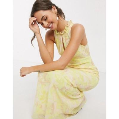 リトル ミストレス Little Mistress レディース ワンピース マキシ丈 ワンピース・ドレス High Neck Maxi Dress In Lemon Floral レモン
