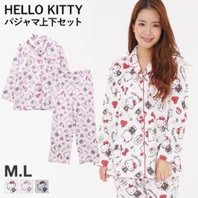 (ハローキティ)HELLO KITTY キティ favorite item ルームウェア パジャマ 上下セット 長袖 前開き シャツパジャマ シャツ