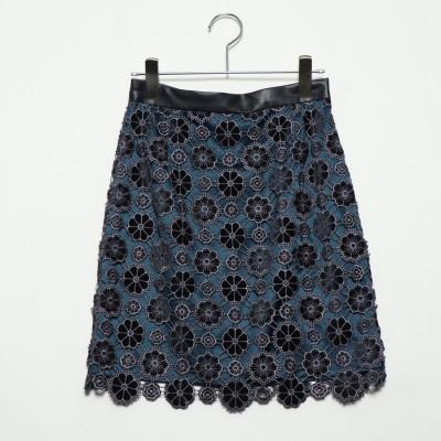 リリーブラウン Lily Brown お花柄ベロアレーススカート (ネイビー)