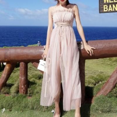オールインワン サロペット シフォン レディース ドレス レースアップ フリル お呼ばれ 結婚式  春新作 春服