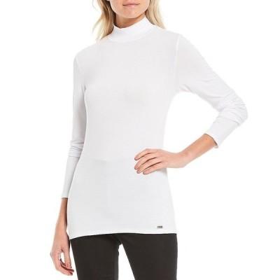 カルバンクライン レディース Tシャツ トップス Liquid Knit Jersey Mock-Neck Long Sleeve Top True White