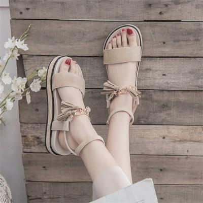 レディース サンダル カジュアルシューズ 夏 フラットヒール ウォーキング コンフォート 厚底 可愛い 女子靴