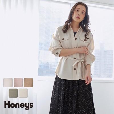 トップス シャツ チュニック 8分袖 ベルト 体型カバー 羽織り 無地 レディース 春 Honeys ハニーズ ベルト付チュニックシャツ