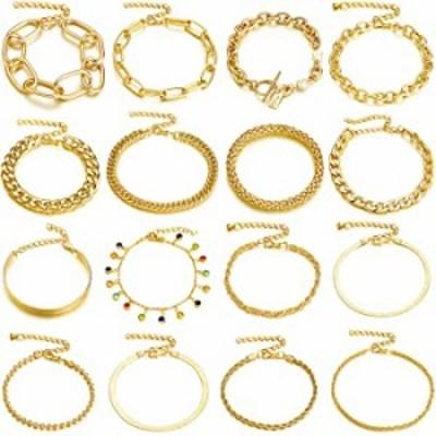 Hicarer 16 Pieces Women Chain Bracelets Set Adjustable Gold Link Bracelet Italian Cuban Chunky Flat Cable Chain Bracelets Jewelr