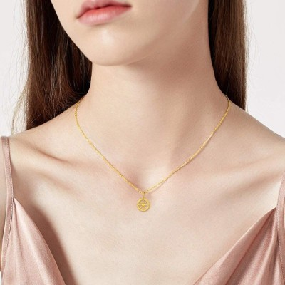 18K Solid Gold Compass Heart Necklace for Women, Real Gold Circle Comp