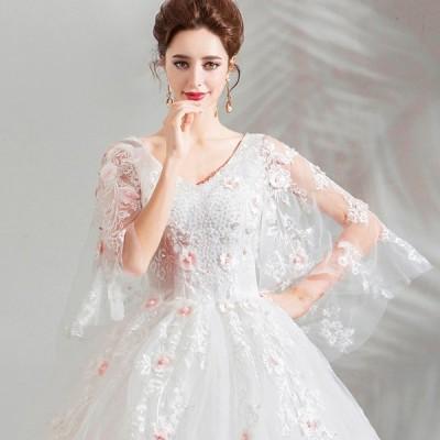 ウェディングドレス 袖あり 安い 白 二次会 結婚式  花嫁 ドレス 姫系 披露宴 大きいサイズ エンパイア ロングドレス パーティー ブライダル