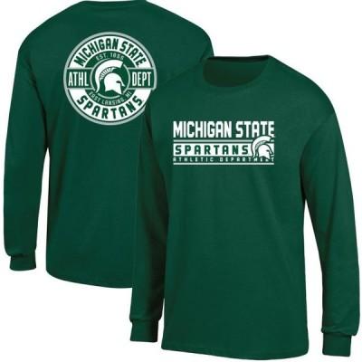メンズ スポーツリーグ アメリカ大学スポーツ Men's Russell Athletic Green Michigan State Spartans Back Hit Long Sleeve T-Shirt