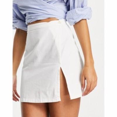 エイソス ASOS DESIGN レディース ミニスカート デニム スカート soft denim skirt in white co-ord ホワイト