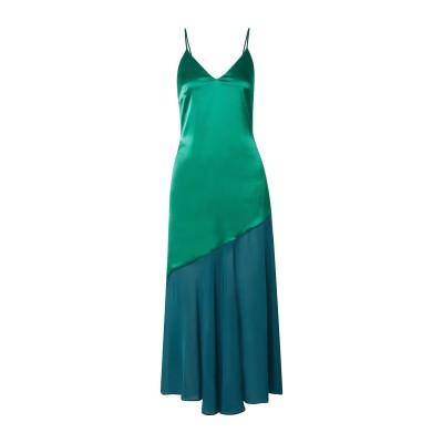 RACIL ロングワンピース&ドレス グリーン 34 トリアセテート 78% / PES - ポリエーテルサルフォン 22% ロングワンピース&ドレス