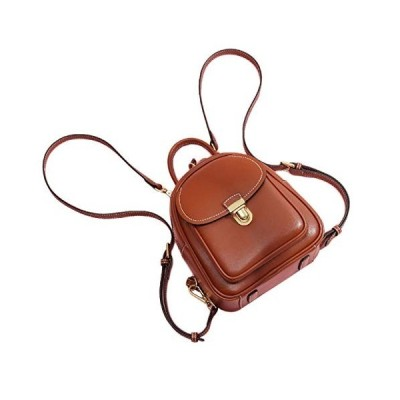 Genuine Leather Mini Backpack Convertable Straps Daypack Durable Brown