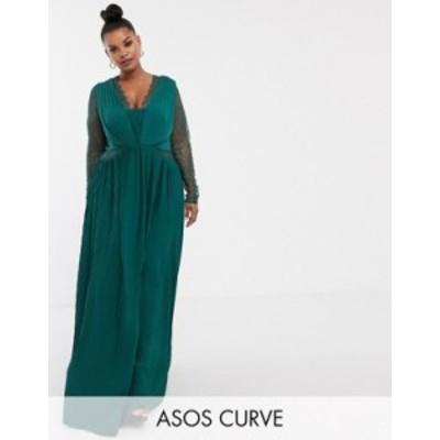 エイソス レディース ワンピース トップス ASOS DESIGN Curve lace and pleat long sleeve maxi dress Forest green