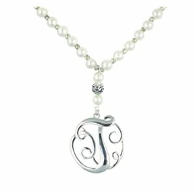 """Monogram Silver Tone Charm 6mm Glass Pearl Body Necklace 30"""" (Silver T Necklace)"""