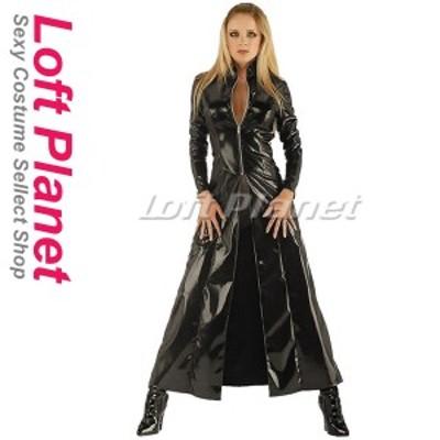 ロングコート PVCエナメルのボンテージ BDSM衣装 セクシーで重厚なレディース・コスチューム ハロウィンのコスプレ衣装 黒 M1-N8962