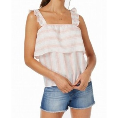 Famous フェイマス ファッション トップス Almost Famous Womens Pink Size Large L Striped Ruffled Tank Cami Top