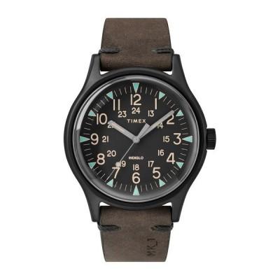 タイメックス メンズ 腕時計 アクセサリー (R) MK1 Leather Strap Watch, 40MM BLACK/BLACK/BROWN