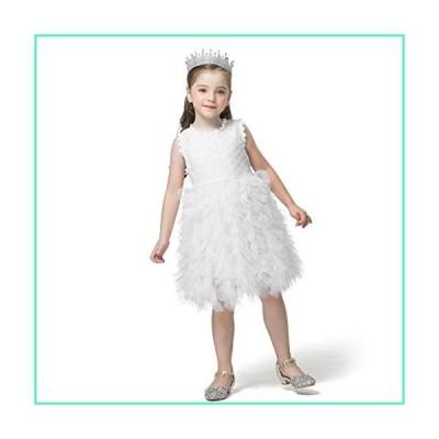 NNJXD Little Girl Tutu Dress Tulle Ruffles Flower Girls Wedding Party Dresses Size (100) 3-4 Years Button-White並行輸入品