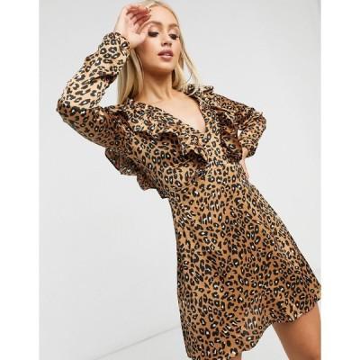 ナナ ミディドレス レディース NaaNaa plunge ruffle detail long sleeve dress in brown leopard  エイソス ASOS sale ブラウン 茶