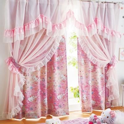ベルーナインテリア ハローキティプリンセスデザイン2wayカーテン(キラキラファンタジー) ピンク 約幅100×丈110cm レディース