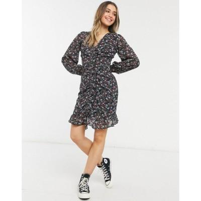 ニュールック レディース ワンピース トップス New Look ruched front mini dress in black ditsy print Black pattern