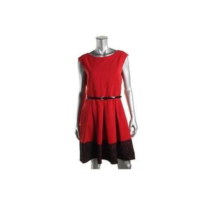 ドレス 女性  海外セレクション Tiana B. 0320 レディース レッド Pleated ノースリーブ Wear to Work ドレス 6