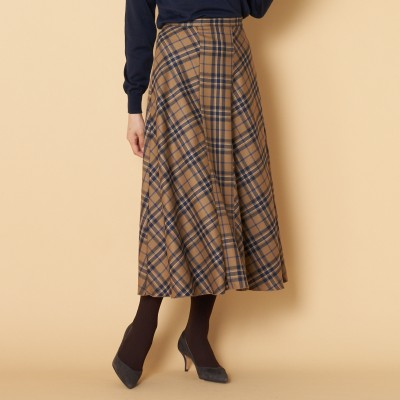HELIOPOLE(エリオポール)/チェックバイヤス切り替えスカート