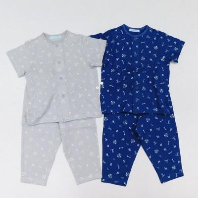 日本製ベビー服 夏パジャマ キッズパジャマ半袖前開き リラックス天竺マリン柄 部屋着 男の子 2003102