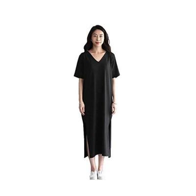 [SLINX] ワンピース 半袖 長袖 レディース マキシ丈 春 夏 大きいサイズ 無地 Vネック ロングTシャツ スリット入り