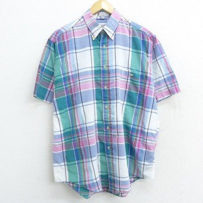 XL/古着 半袖 シャツ 90s ロンドンフォグ ボタンダウン 緑他 グリーン チェック 21apr01 中古 メンズ トップス