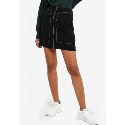 ザローラ ZALORA BASICS レディース ミニスカート スカート Contrast Stitch Zip Skirt Black