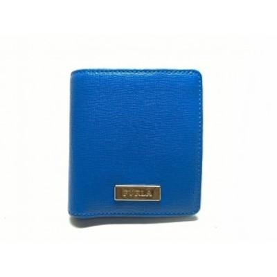 フルラ FURLA 2つ折り財布 レディース 美品 - ブルー レザー【中古】20200717