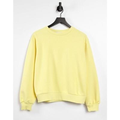 エヌ エー ケイ ディ レディース パーカー・スウェットシャツ アウター NA-KD set organic cotton sweatshirt in yellow Yellow