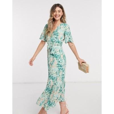 ワイエーエス レディース ワンピース トップス Y.A.S wrap maxi dress with flutter sleeve in mixed floral
