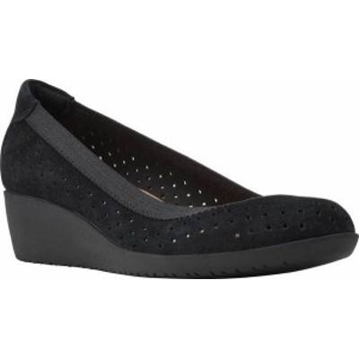 クラークス レディース パンプス シューズ Women's Clarks Elin Sun Perforated Wedge Heel Black Perforated Suede