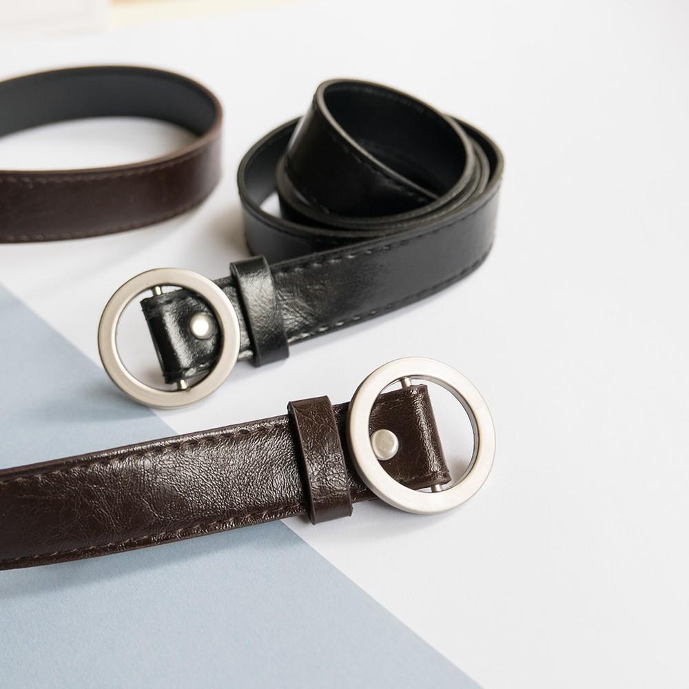 AHUA阿華有事嗎  韓系女裝配件 圓環扣皮帶 2色售 【E0001】
