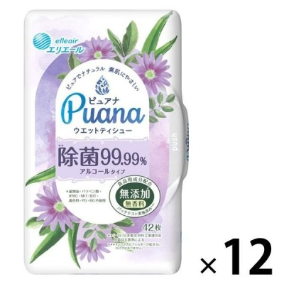 大王製紙ウェットティシュー 本体 42枚入 エリエール ピュアナ(Puana)除菌99.99% 1ケース(12個) 大王製紙